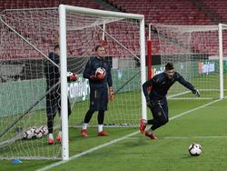 Весёлая разминка вратарей сборной Украины в Лиссабоне